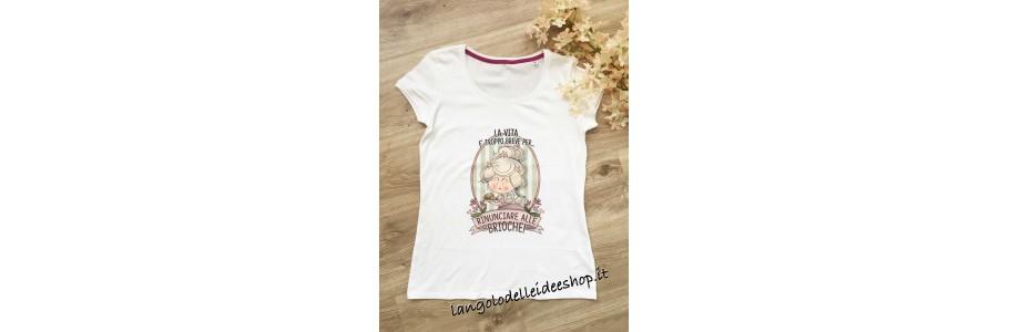 T-shirt donna con stampa frase e dedica - L'angolo delle idee